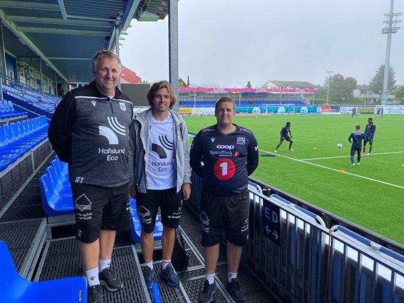 Jansen(t.v.), Anders Matsrup og Eirik Reime Thorberg fra Hallingdal FK fikk med seg alle treninger under oppholdet i Kristiansund